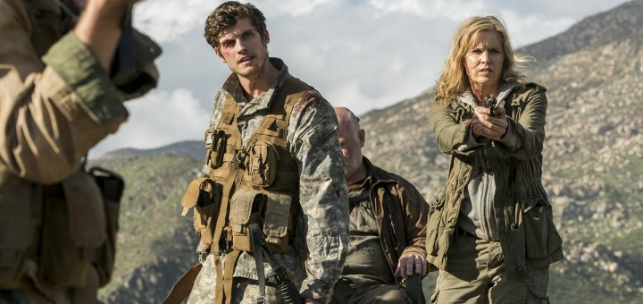Kim Dickens as Madison Clark, Daniel Sharman as Troy Otto, Rocky McMurray as Phil McCarthy - Fear the Walking Dead _ Season 3, Episode 5 - Photo Credit: Richard Foreman, Jr/AMC