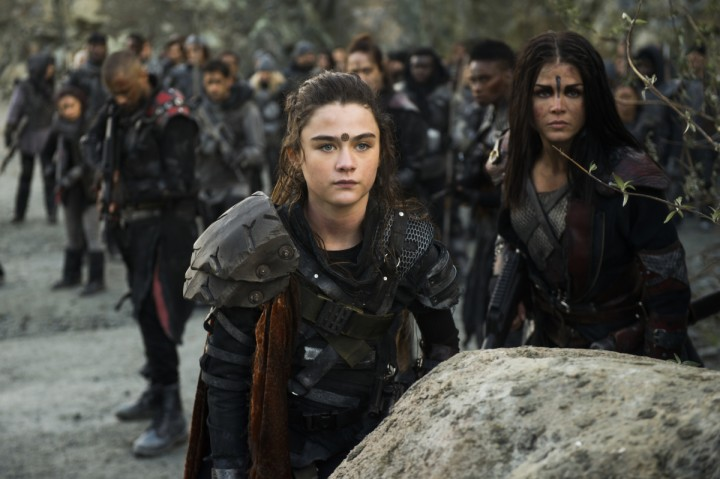 "The 100 -- ""Damocles - Part Two"" -- Image Number: HUN513c_.jpg -- Pictured: (L-R) Lola Flanery as Madi and Marie Avgeropoulos as Octavia -- Photo: Diyah Pera/The CW -- © 2018 The CW Network, LLC. All Rights Reserved."
