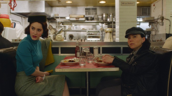 Hello Deli: Midge (Rachel Brosnahan) and Susie (Alex Borstein) nosh and schmooze in Season 2 of Amazon's The Marvelous Mrs. Maisel.