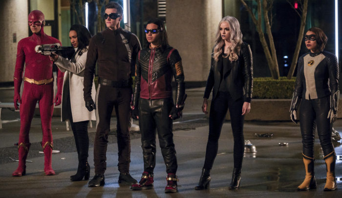 """The Flash -- """"Legacy"""" -- Image Number: FLA522b_0117b.jpg -- Pictured (L-R): Grant Gustin as The Flash, Candice Patton as Iris West -- Allen, Hartley Sawyer as Dibney, Carlos Valdes as Vibe, Danielle Panabaker as Caitlin Snow and Jessica Parker Kennedy as XS -- Photo: Jeff Weddell/The CW -- © 2019 The CW Network, LLC. All rights reserved"""