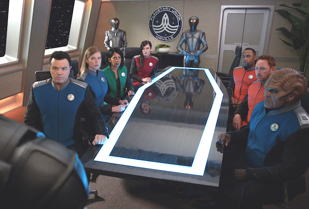"""THE ORVILLE: L-R: Seth MacFarlane, Adrianne Palicki, Penny Johnson Jerald, Jessica Szohr, J Lee, Scott Grimes and Peter Macon in the """"Identity Pt. 2"""" episode of THE ORVILLE airing Thursday, Feb. 28 (9:00-10:00 PM ET/PT) on FOX. ©2018 Fox Broadcasting Co. Cr: FOX"""
