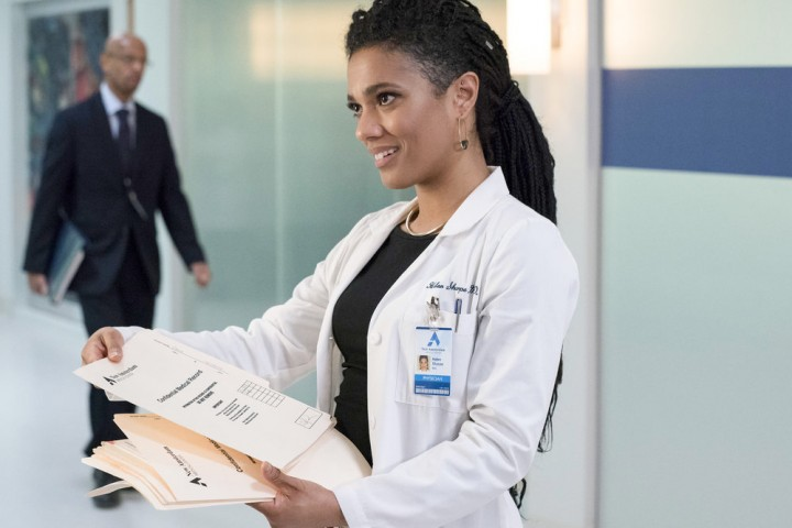 "NEW AMSTERDAM -- ""Five Miles West"" Episode 118 -- Pictured: Freema Agyeman as Dr. Helen Sharpe -- (Photo by: Virginia Sherwood/NBC)"